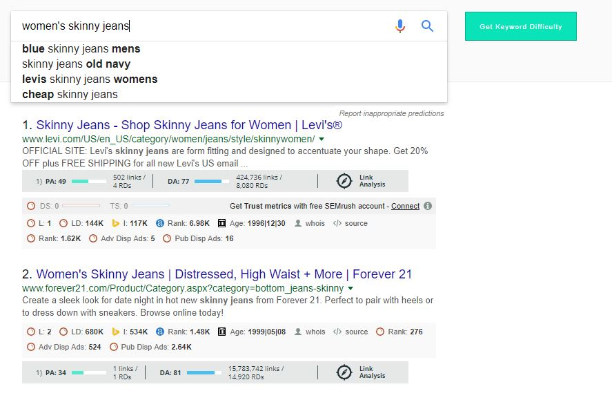 Keyword Research Tools for Small Business -Google Search Suggest