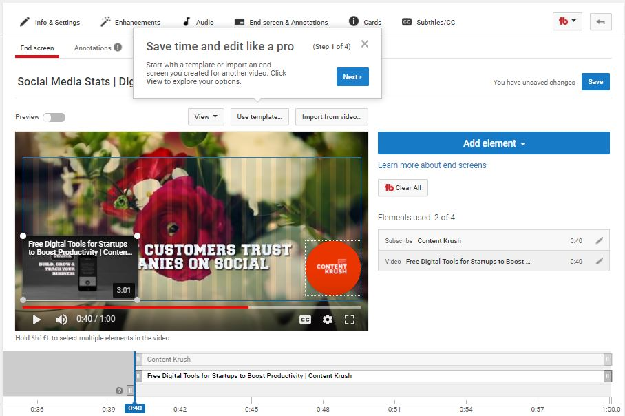 SEO for YouTube videos -YouTube End Screen Videos