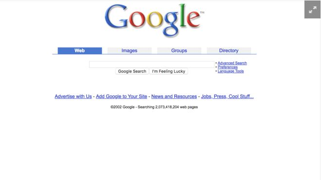 major events in google history -Google Homepage in 2002