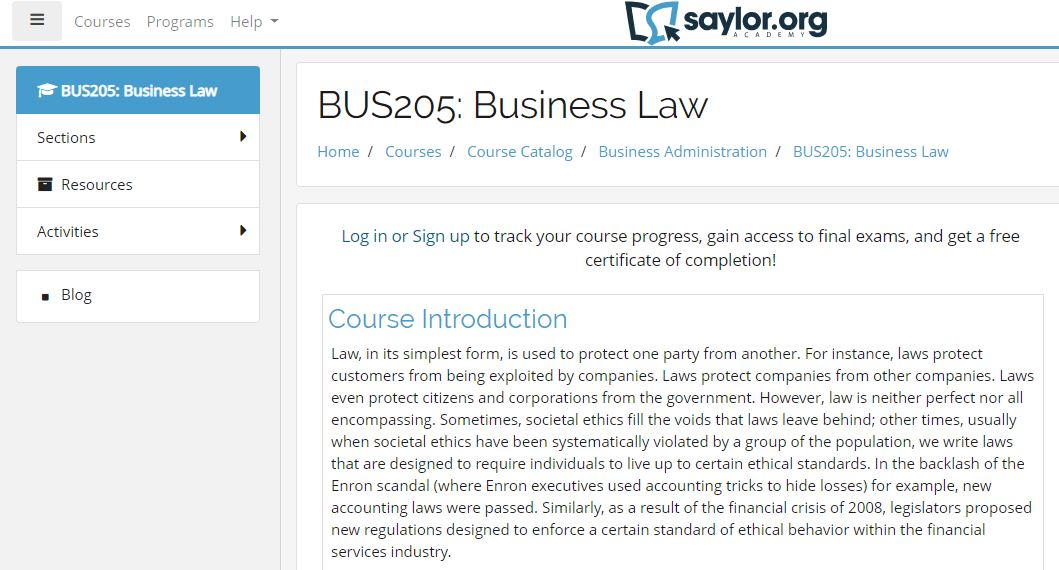Free online courses with certificate- Business Law and Ethics Course by Saylor Academy