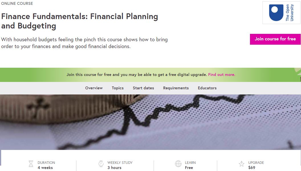 Free online courses with certificate - Financial Planning and Budgeting by The Open University