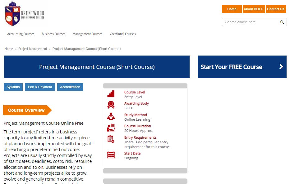 Free online courses with certificate - Project Management Short Course by Brentwood Open Learning College